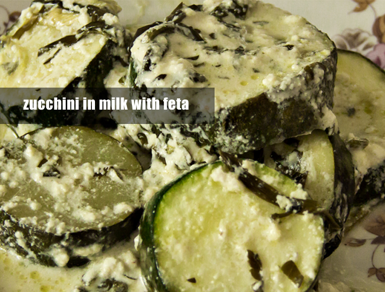 zucchini in milk with feta